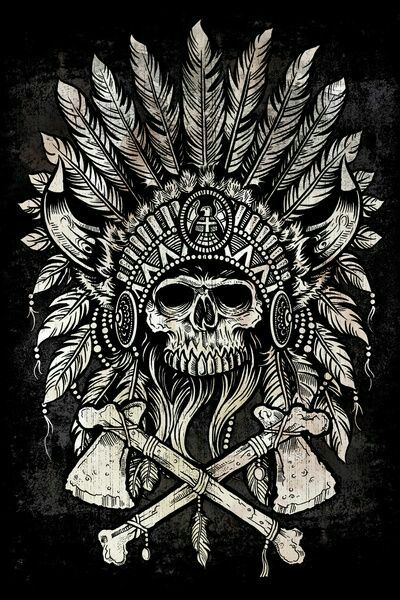 Skull with headdress and tomahawks