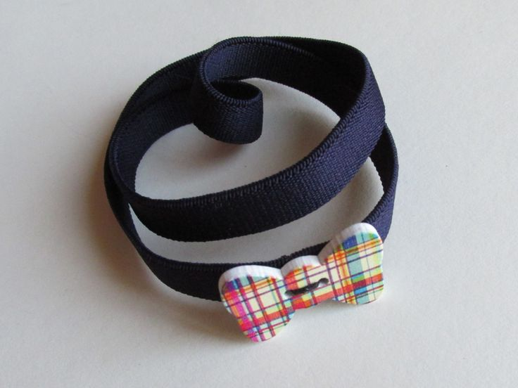 Navy Plaid Bow Button Headband by Buttonnuthin on Etsy