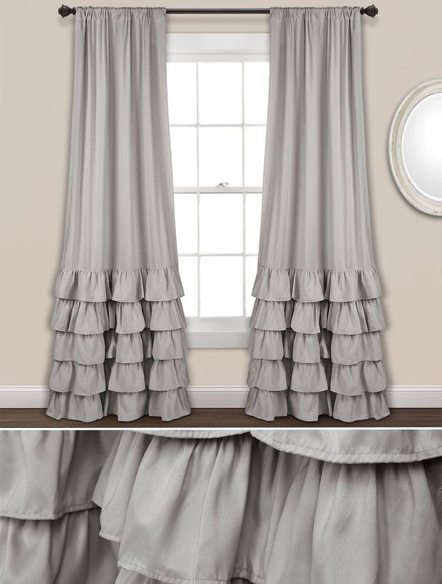 Classic Ruffle Curtain Panel Set Of 2 With Images Ruffle