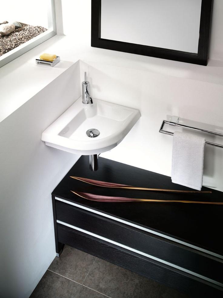 Sonia PO4 Corner Wall BasinPowder Room, Sonia Po4, Contemporary Bath, Catalog, Bath Sinks, Tiny Bathroom, Po4 Corner, Corner Vessel, Bathroom Solutions