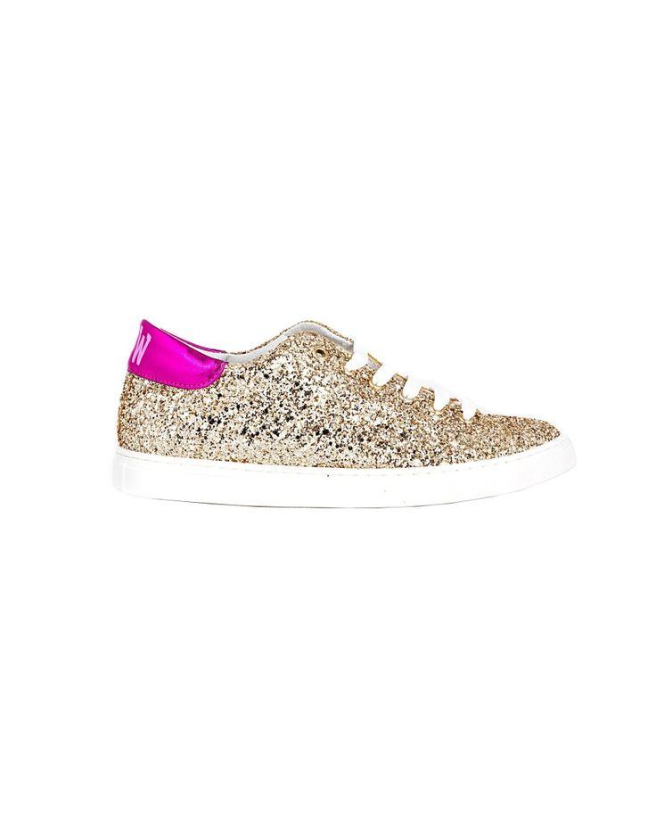 SHOP ART Gold sneakers  super wow rubber sole lace-up closure