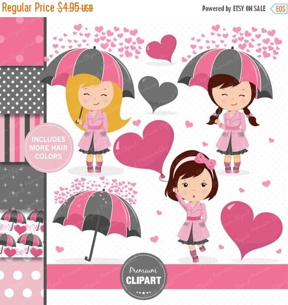 80% OFF SALE Valentines day clipart, Girl clipart, Valentine clipart, Valentine digital paper, Heart clipart, Love clipart - CL176