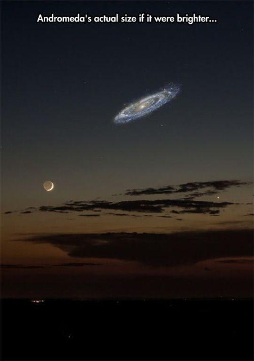 Tamaño real de la galaxia de Andromeda, vista desde la superficie de la Tierra,  si fuera más brillante.