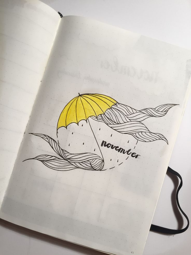 November Bullet Journal Cover Page Yellow