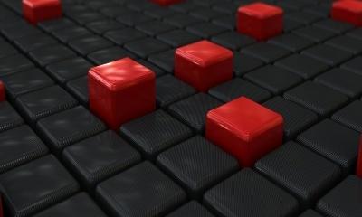 3D Black and Red Carbon Fiber