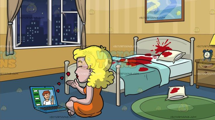 A Woman Blowing Kisses While Video Chatting With Her Boyfriend At A Crime Scene Bedroom:  A woman with blonde hair wearing an orange dress crosses her legs while seated on the floor as she blows kisses to her boyfriend while they are video chatting using the blue laptop in front of her . Set in a crime scene room with yellowish gold wallpaper grayish blue floor with round green carpet opened white paneled windows with beige curtains a painting with brown frame hanging on top of a white bed…