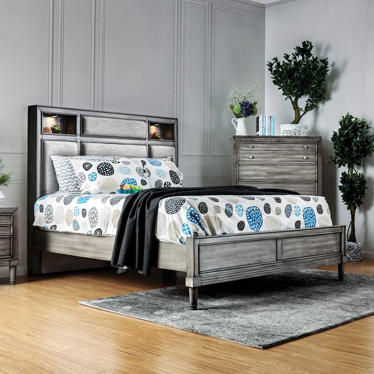 Furniture of America Braysen Transitional Bookcase Headboard Queen-size Bed