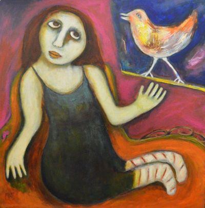 "Regina Noakes- Red Hill Art Gallery,  Brisbane. Painting ""Bird On A Sill"" 76x76cm"