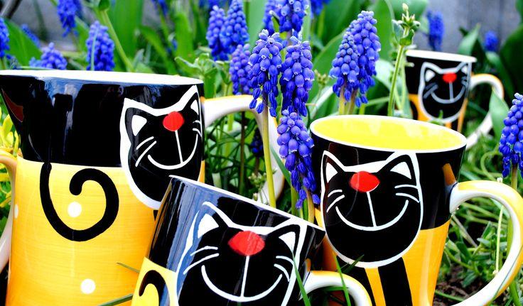Žlutá veselá kočka na www.rucnemalovane.cz