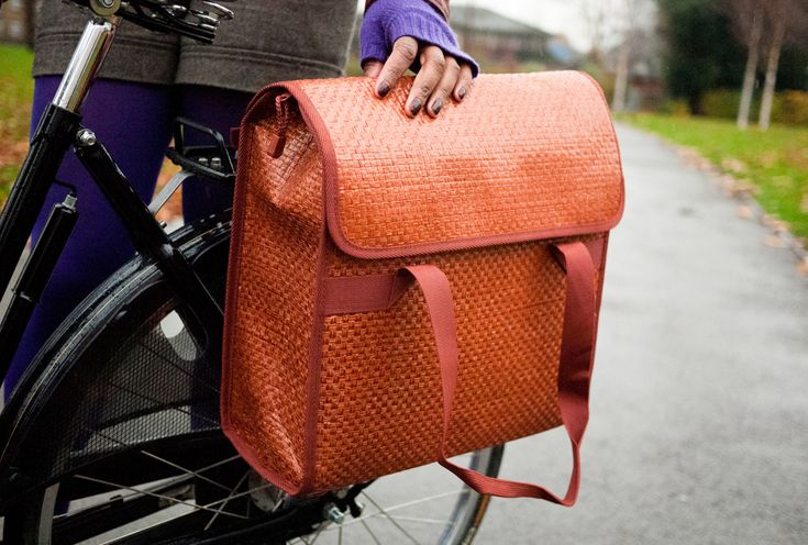 Cyclestyle – 'Bobbin' straw pannier • Available at thebigdesignmarket.com