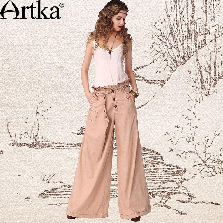 Купить Artka женская ретро летняя одежда мягкие высококачественные элегантные облегающие светло хаки прямые широкие штаны с вышивкой KN11142X и другие товары категории Брюки и капри и брюки красногов магазине ArtkaнаAliExpress. штаны перчатки и брюки материнства
