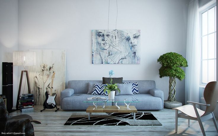 Portraits with fluid organic lines compliment the curved shapes found in the table, rug, and potted tree. Sharp geometric forms stand in contrast.