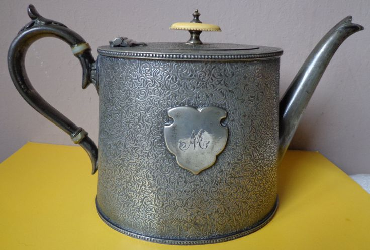 Victorian Shaw And Fisher Pewter Teapot With The Initial M In Shield, Shaw And Fisher Antique Pewter Teapot With Hinged Lid, Makers Marks by OnyxCollectables on Etsy