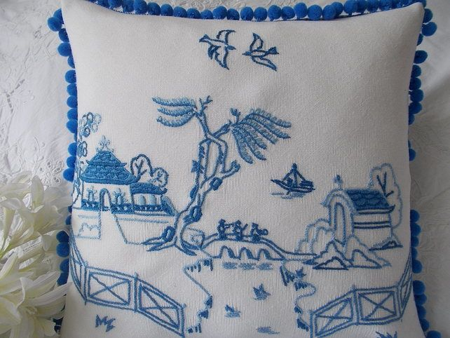 Willow Pattern Vintage Embroidered Cushion £25.00
