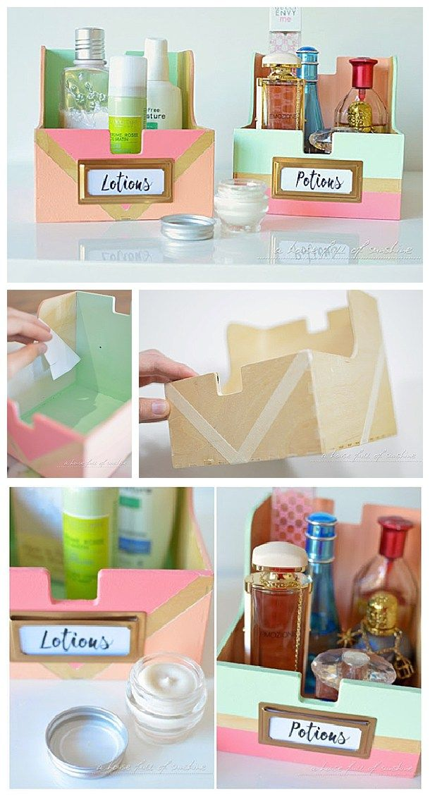 DIY Bathroom Organization Ideas - Upcycle old CD storage boxes into cute toiletry holders for the Bathroom - Do it yourself Project tutorial via i heart organizing
