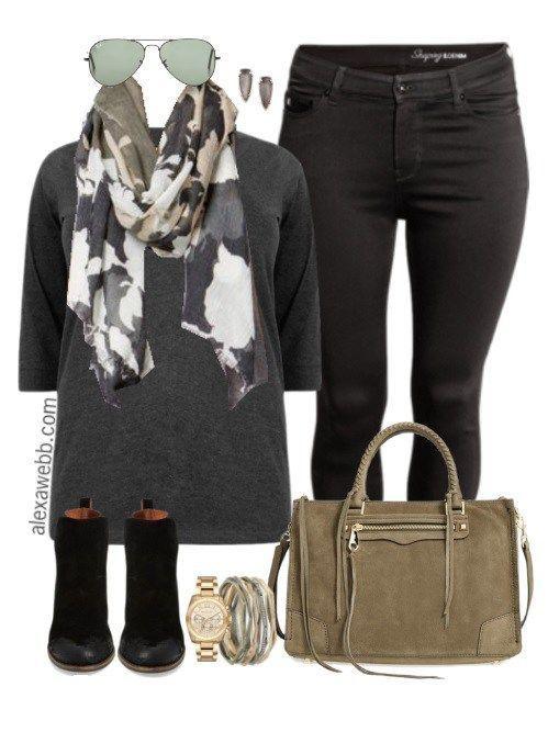 Plus Size Fall Black Jeans Outfit - Plus Size Fashion for Women - alexawebb.com