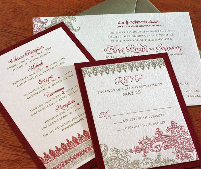 Elegant floral paisley Indian wedding invitation set with matching second red paper layers.    Invitations by Ajalon   invitationsbyajalon.com