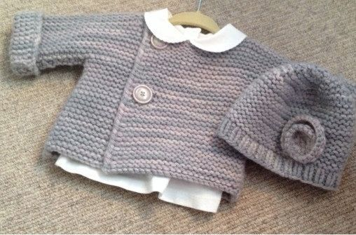 This listing is for a simple French style baby cardigan pattern in sizes 3-6 and 6-12 months. Pattern makes an adorable little one piece sweater that