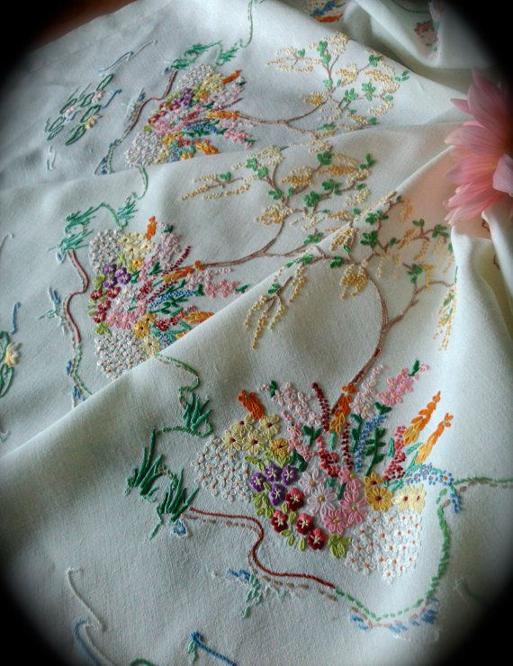 Hand Embroidered Willow Tree Vintage Linen by GardenOfCrinoline