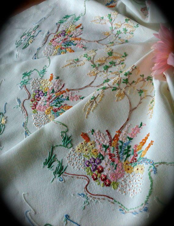 Hand Embroidered Willow Tree Vintage Linen by GardenOfCrinoline