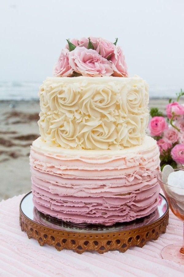 Beach Wedding Ombre Rose Cake, Vintage Wedding Cake Ideas, Beach Wedding Ideas, Party Dessert Table www.foodideasrecipes.com