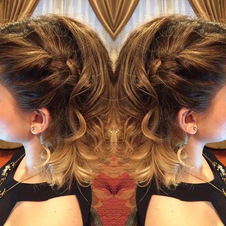 Side braid with curls @josephashleysalon