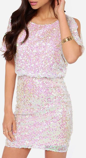 Make Me Over Cream Sequin Dress