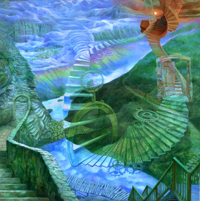 John Parson painting, Paths surreal steps paths and doorstime>>> time to pin myself ...enjoy