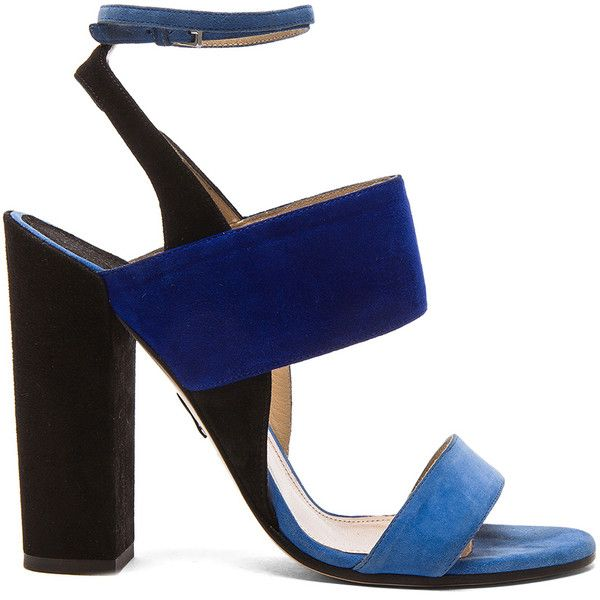 Paul Andrew Xiamen Heel found on Polyvore featuring shoes, heels, sandals, blue peep toe shoes, blue shoes, cork wedge shoes, wrap shoes and tassel shoes
