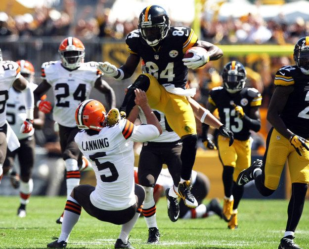 Pittsburgh Steelers receiver Antonio Brown proved that his skills aren�t just limited to football. On a punt return against the Cleveland Browns, he kicked the punter Spencer Lanning in an attempt to hurdle him. | The Steelers' Antonio Brown Karate-Kicked A Punter And The Internet Responded Hilariously