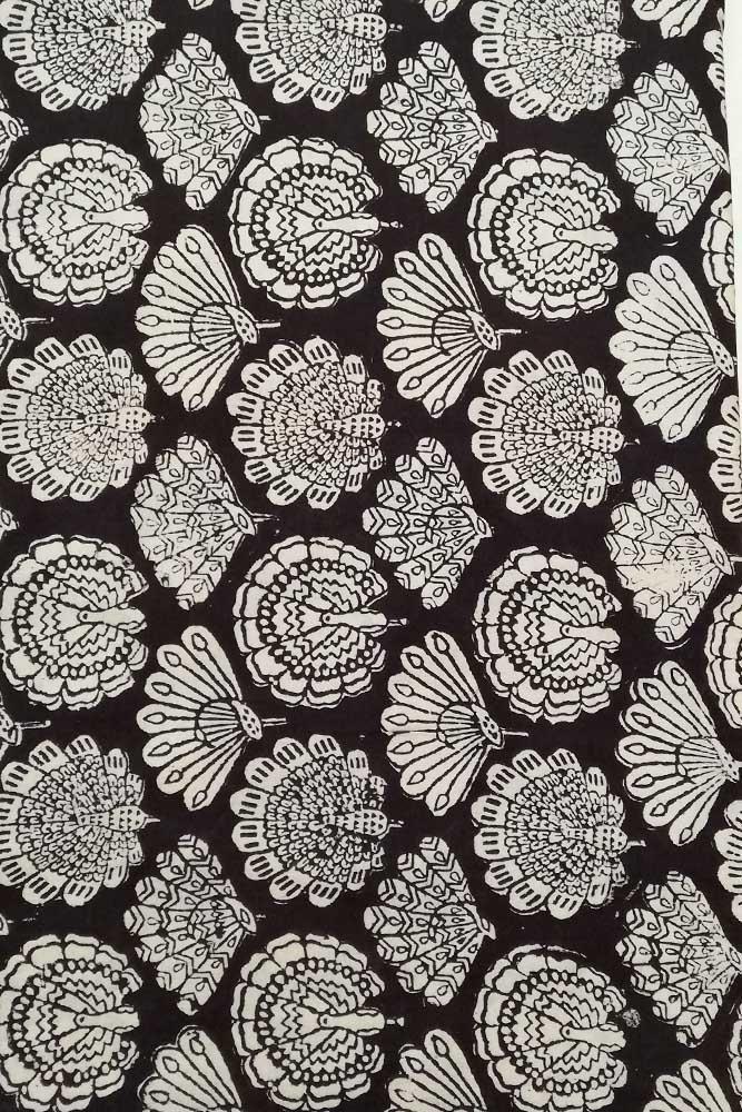 2½ Yards Hand Printed Cotton Block Print New Black Fabric White Flowers