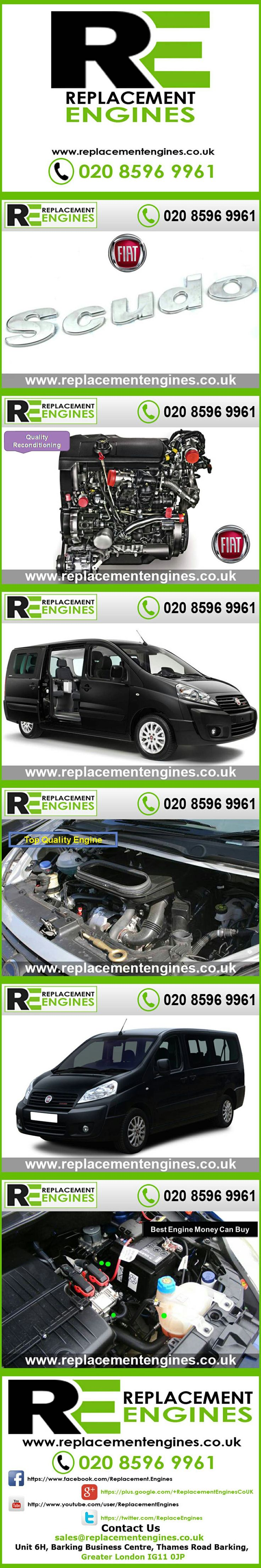 Fiat Scudo Engines for sale at the cheapest prices, we have low mileage used & reconditioned engines in stock now, ready to be delivered to anywhere in the UK or overseas, visit Replacement Engines website here  http://www.replacementengines.co.uk/car-md.asp?part=all-fiat-scudovan-engine&mo_id=31758