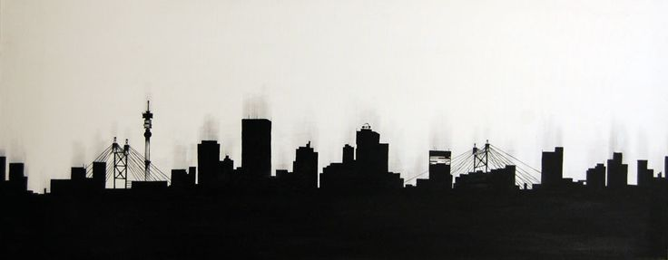 Skyline Silhouette: Johannesburg - Painting by Tanja Harbottle | StateoftheArt.co.za