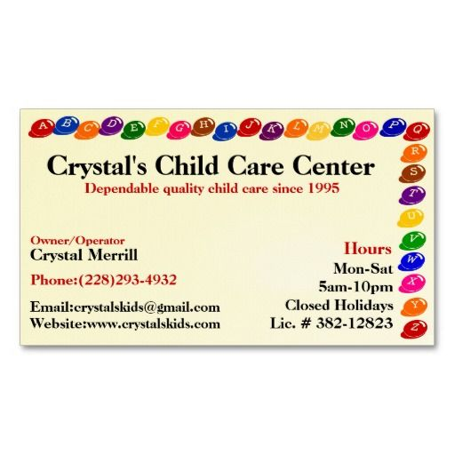17 Best images about Childcare Business Cards on Pinterest | Day ...
