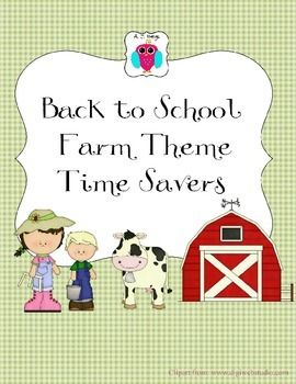 This is handy set of Farm themed resources for classroom groups and for going back to school.  It includes teacher forms such as a Substitute Teacher form, a volunteer form, name tags, bus tags, schedule cards, portfolio covers, hall passes, a To Do list, a list of common room set up reminders and more.