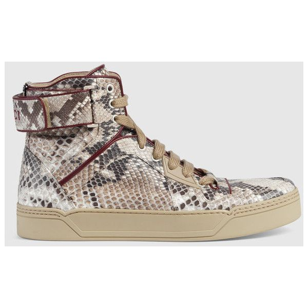 Gucci Python high-top sneaker ($1,900) ❤ liked on Polyvore featuring shoes, sneakers, gucci trainers, gucci footwear, high-top sneakers, python sneakers and gucci high tops