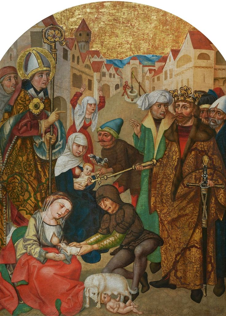 Punishment of unfaithful wives, a panel from Saint Stanislaus Triptych by Anonymous from Kraków, ca. 1505 (PD-art/old), Zamek w Pieskowej Skale
