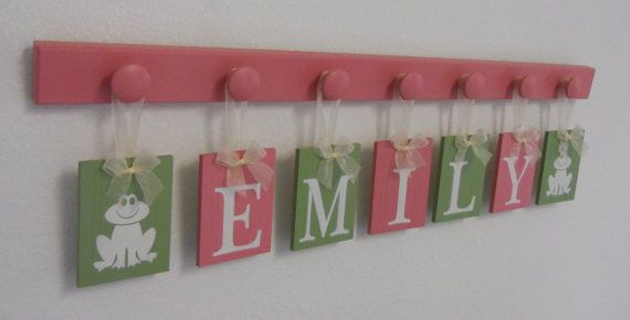 Frog Nursery Decor, Froggy Art Wall Decor Personalized Ribbon Letters for Princess EMILY with Frog Decorations, 7 Pegs Pink Green Frog Gifts