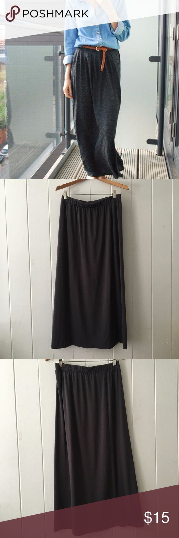 Uniqlo Dark Gray Basic Maxi Long Skirt Basic dark gray maxi flowy skirt First picture is not of actual skirt, used for style inspo UNIQLO Skirts Maxi
