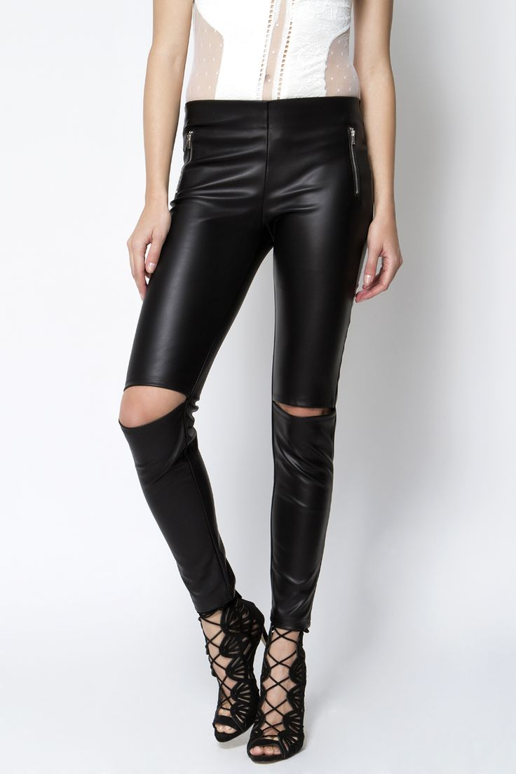 Leather look Cut Out Παντελόνι - ΡΟΥΧΑ -> Παντελόνια & Κολάν   Made of Grace