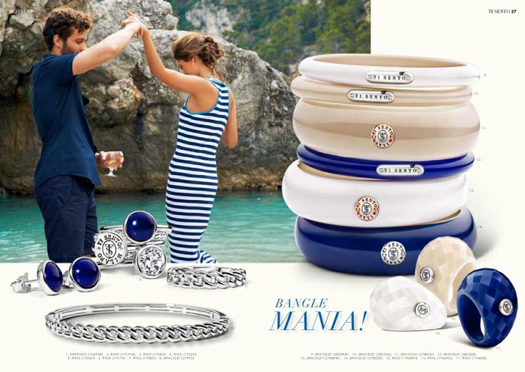 Spring / Summer 2014 Collection #Summer #Italy #Happy #Capri #TiSento #Jewellery #LaVitaAlSole #Friends #Dancing #Beach # Water #Bangles #Mania #Silver #Stripes #Blue #White