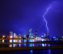 FEA-0007237 © WestPix Lightning strike hits Perth City. Picture: Shaun Fearn