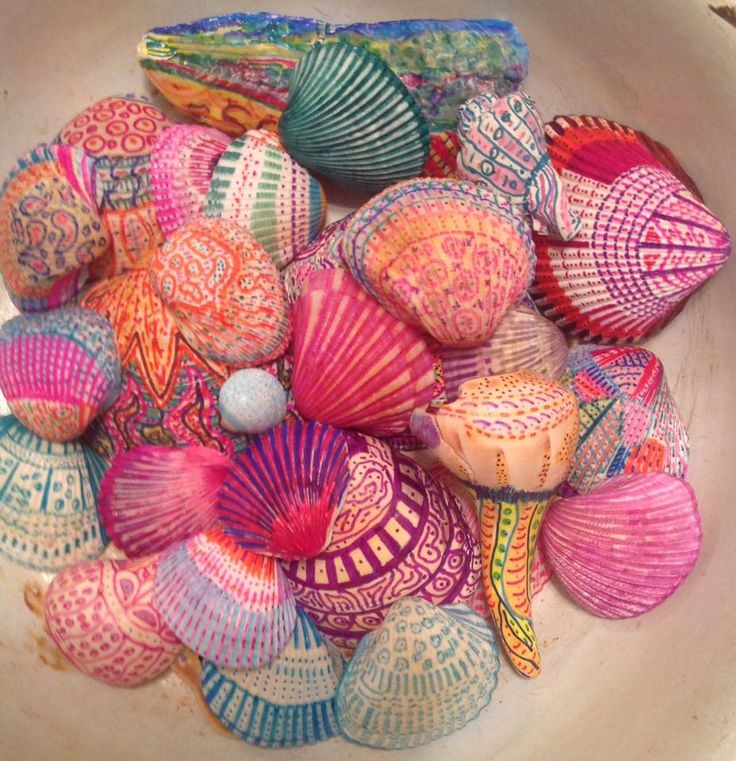 Sharpie Pen Shell Art, Zentangles style by Rebecca Taver David