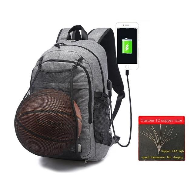 2a0527d45643 Multifunction Basketball Backpack SportS Bag With USB Charging Port