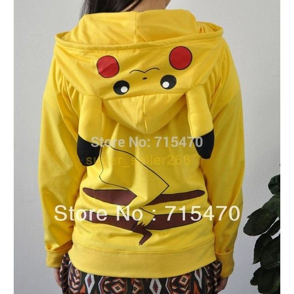 Chandal Mujer animais dos desenhos animados Pokemon Pikachu Hoodie... ❤ liked on Polyvore featuring tops, hoodies, yellow hoodies, yellow hooded sweatshirt, animal hoodie, hoodie top and animal hoodies