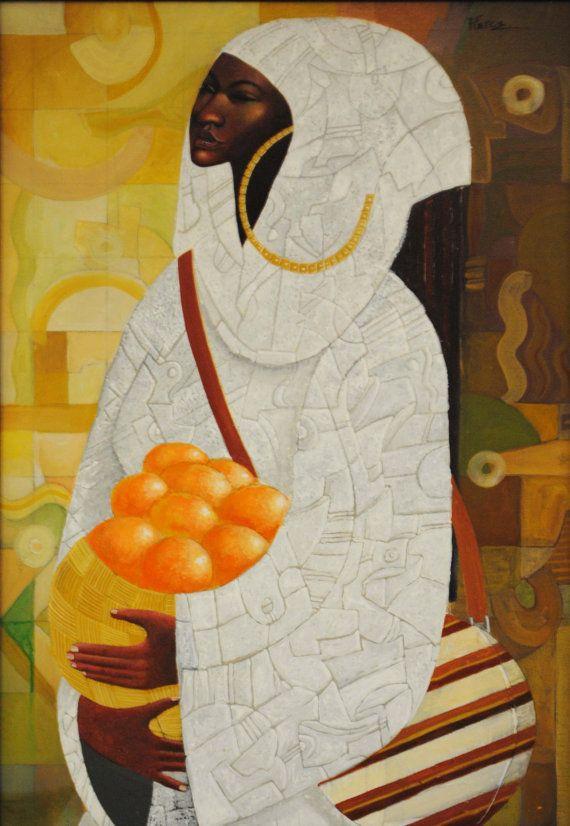 Vrouw met sinaasappelen is een afdruk van de kunst van het originele Acryl schilderij. Het gedrukte fotopapier met een 1 rand rondom en is klaar voor uitwerking.