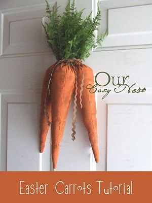 Supplies~  * 2 orange tea towels ( or 1/2 yard of orange fabric orange thread  * ribbon (what ever you have around the house, it wont be seen)  * small safety pin  * fake greenery (something that resembles carrot foliage)  * glue gun or craft glue  * fiber fill or stuffing