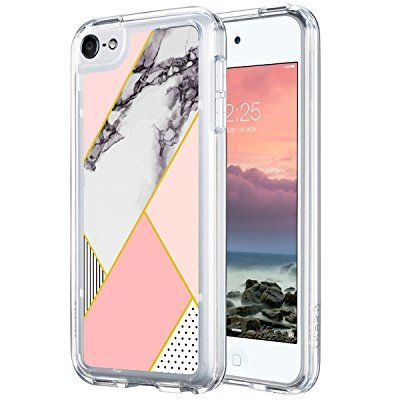 iPod Touch 6 Case,ULAK [CLEAR SLIM] Flexible Soft TPU Bumper PC Back Hybrid Shock Absorption Case with Fabulous Glossy Pattern for iPod Touch 6/iPod Touch 5 - Retail Packaging-Pink Marble:Amazon