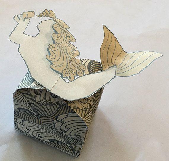Téléchargement instantané, boîte de faveur de mariage de plage, boîte de faveur de sirène, boîte à bonbons faveur du parti, boîte cadeau imprimable de numérique, bricolage, boîte-cadeau thème plage
