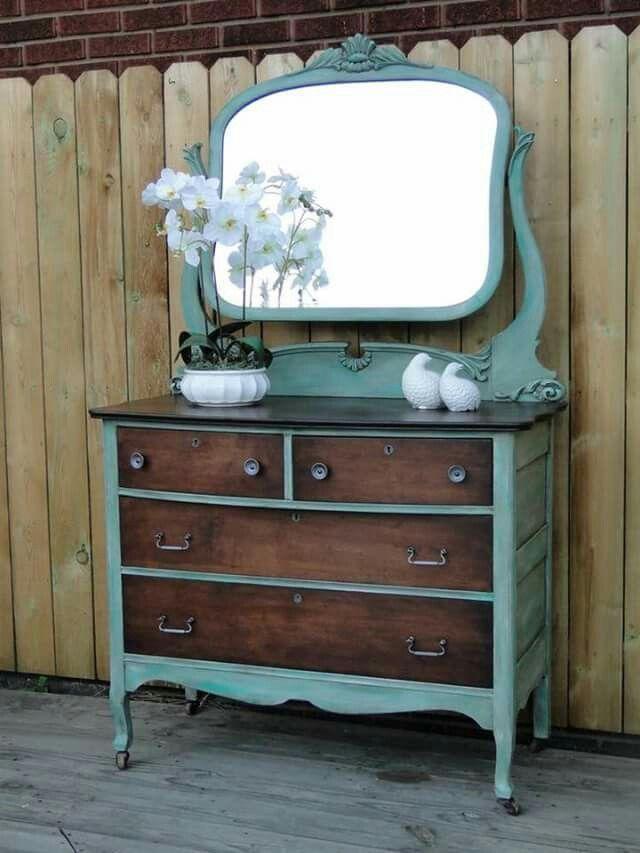Chalk Paint Dresser And Mirror Sarah Jayne Kingfisher Blue Green